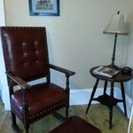 Huge leather chair in the Wyatt Earp room