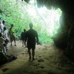 Exploring a cave.