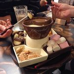Chocolate fondue for 2 but easily serves 4.