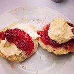 Devon or Cornwall. Both were delicious scones fresh and light like sponge