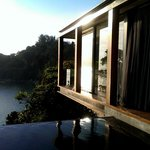 sliding glass walls open up to the pool while bedroom is hovering in the trees