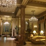 Gorgeous lobby--love the chandeliers.