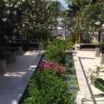 Vom Hotel zum Pool/Restaurant und Strand