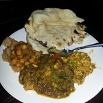 Chicken Hara Aachari and Paneer Purji with Samosa Chic Peas and Naan.