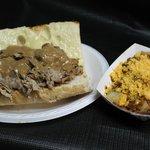 Southern Style Roast Beef Sub w/Brown Gravy and a side of cheesy roasted red potatoes