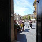 Looking out of Picasso's front door on to the square