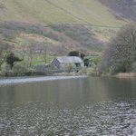 St Mary's Church across Tal-y-llyn lake. View from the dining room.