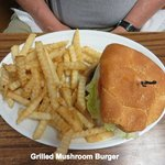 Mushroom Burger and Fries
