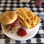 My pork sandwich, yummy.