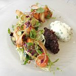 Goat cheese mouse with relish and seasonal salad