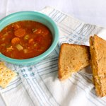 Grilled Cheese Classic with three different cheeses and homemade vegetable beef soup!