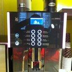 Espresso machine in the lobby--24 hour caffeine!
