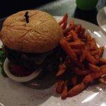 Burger and sweet potato fries