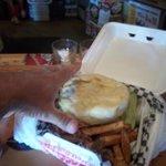 Huge updise-dwon burger