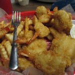 Fantail shrimp and fries from Lee and Rick's Oyster Bar