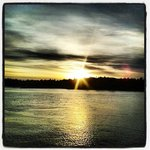 During the ferry ride across the Puget Sound at sunset