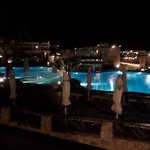 Night time pool view from are room