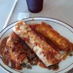 Combo plate - tamales, enchiladas, burrito