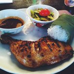Grilled chicken with sticky rice and cucumber salad