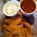 Catfish with Baked Beans & Potato Salad