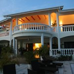 Front of the villa at sunset