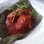 Pork in banana leaves with habanero.