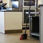 The floor was dirty during the whole time we were there, 45 minutes. There was a broom right the
