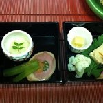 one of the many beautiful courses of food each night at the Ryokan on the trip