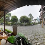 Pano from outside tables and bike shelter