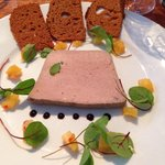 Pate with pineapple relish and gingerbread.