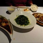 Three of the five dishes. l - r, chicken, peashoots, lamb
