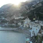 View of stunning Amalfi at sunset