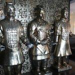 lifesize metallic sculptures at the entrance