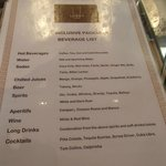 All inclusive drinks menu (Baileys is also included)