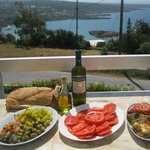 View from balcony of our villa; food from the local market