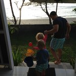 Off to the beach with the kids from the beachfront/family suite