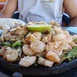 Shrimp and chicken fajitas