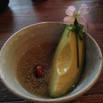 Avocado, basil & almonds in a chilled fig leaf broth