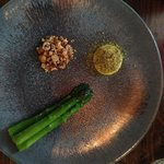 First Course: Asparagus with Mayo and Hazelnut