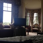 View from the bed. Notice the great seating area off to the right.