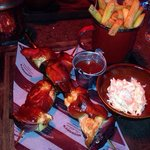 BBQ chicken skewers with lovely seasoned chips and home made coleslaw