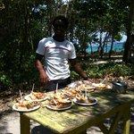 déjeuner sur la plage Langouste