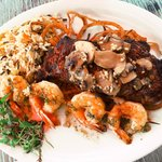 Surf and turf: New York strip steak and gulf shrimp skewer. YUM!