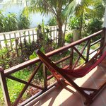 Hammock at front door of our bungalow
