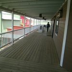 Upper deck outside rooms.