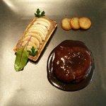 Pièce de boeuf sauce bordelaise, tarte aux champignons