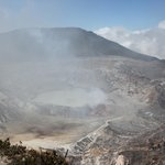 Main crater still spewing sulfur gas