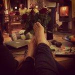 Post skiing feet up