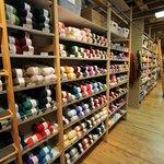 Aisles of yarn at the shop