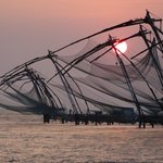 Sunset over the fishing nets